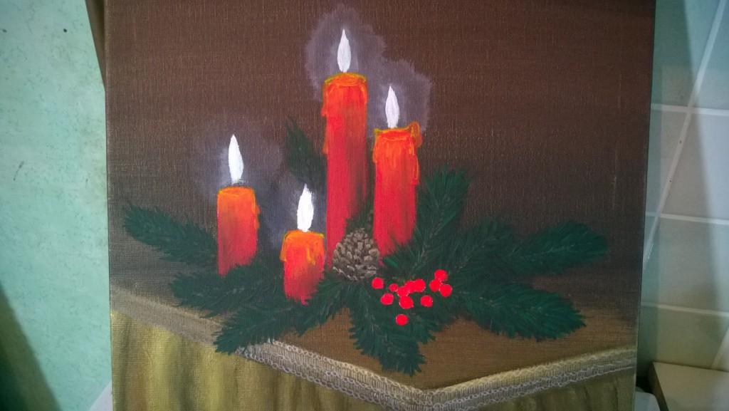 13-stilleben-weihnachtsgesteck-mit-kerzen-malen