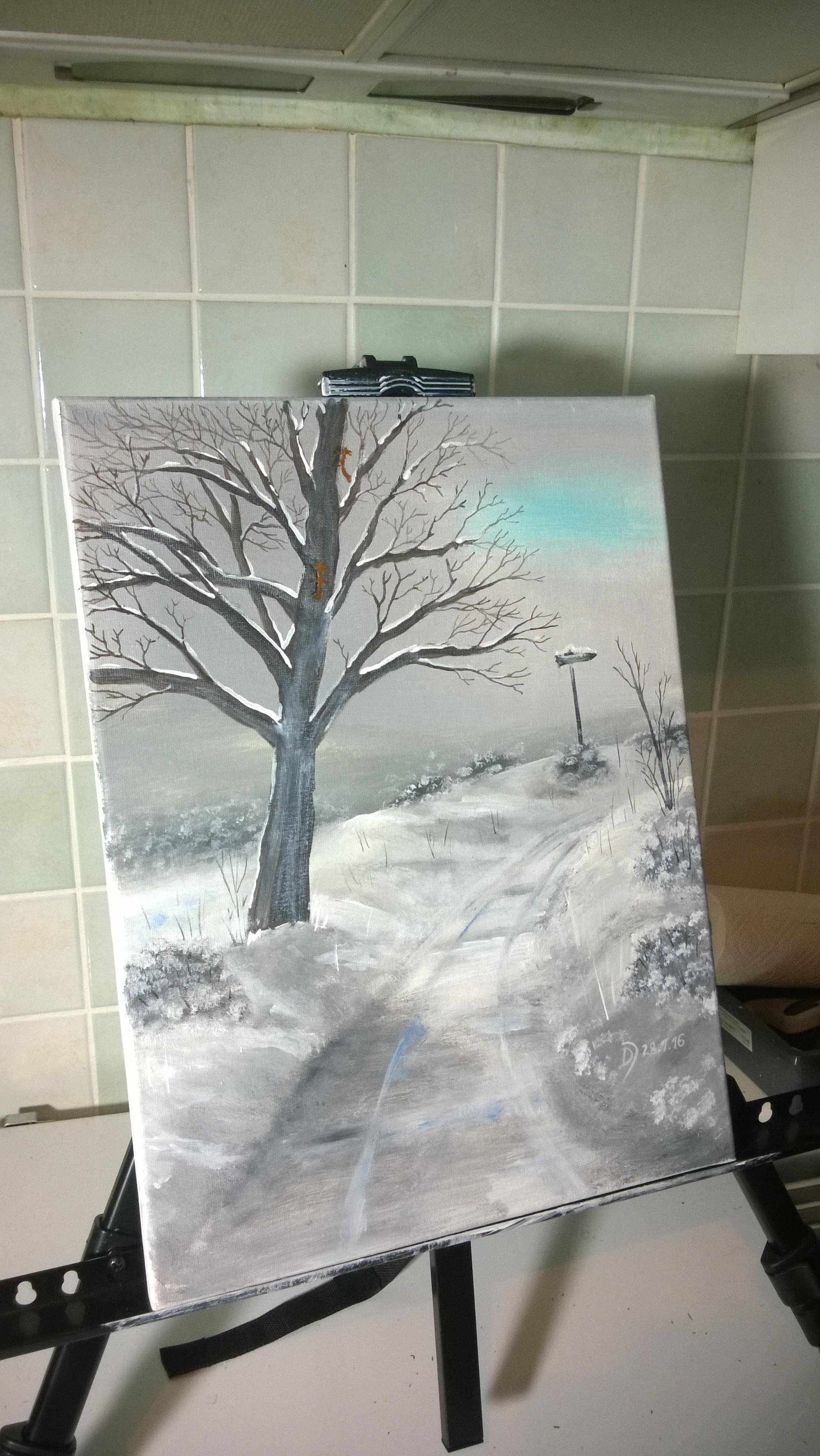 Malkurs Online Verschneiter Wanderweg Mit Baum Malen
