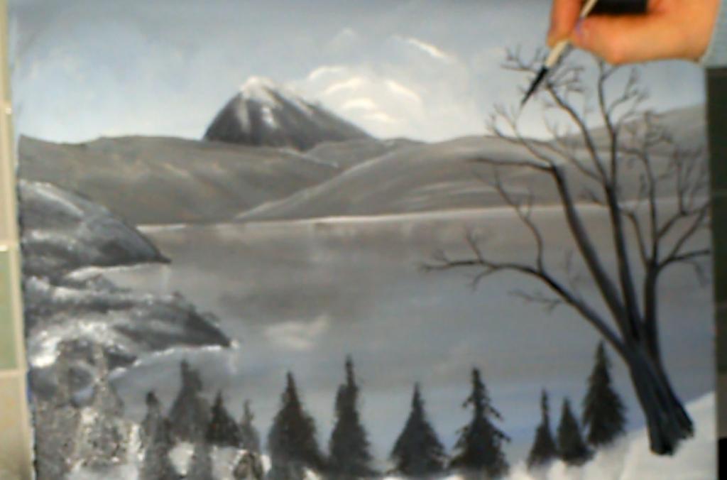 12-Malkurs-Acryl-Bergsee-im-Winter