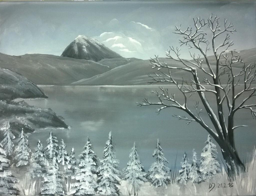 Malkurs-Acryl-Bergsee-im-Winter