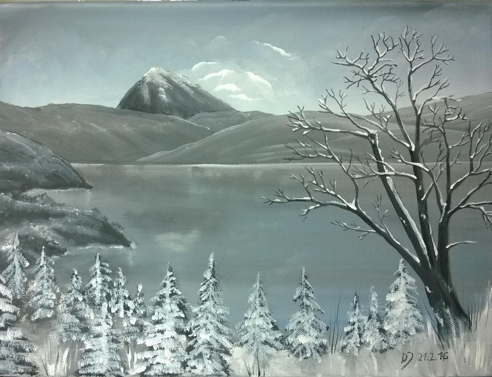 Malkurs online bergsee im winter malen macht spass - Malen mit acryl auf leinwand ...