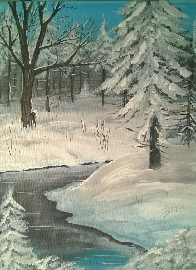 Winterwald-mit-kleinem-Fluss