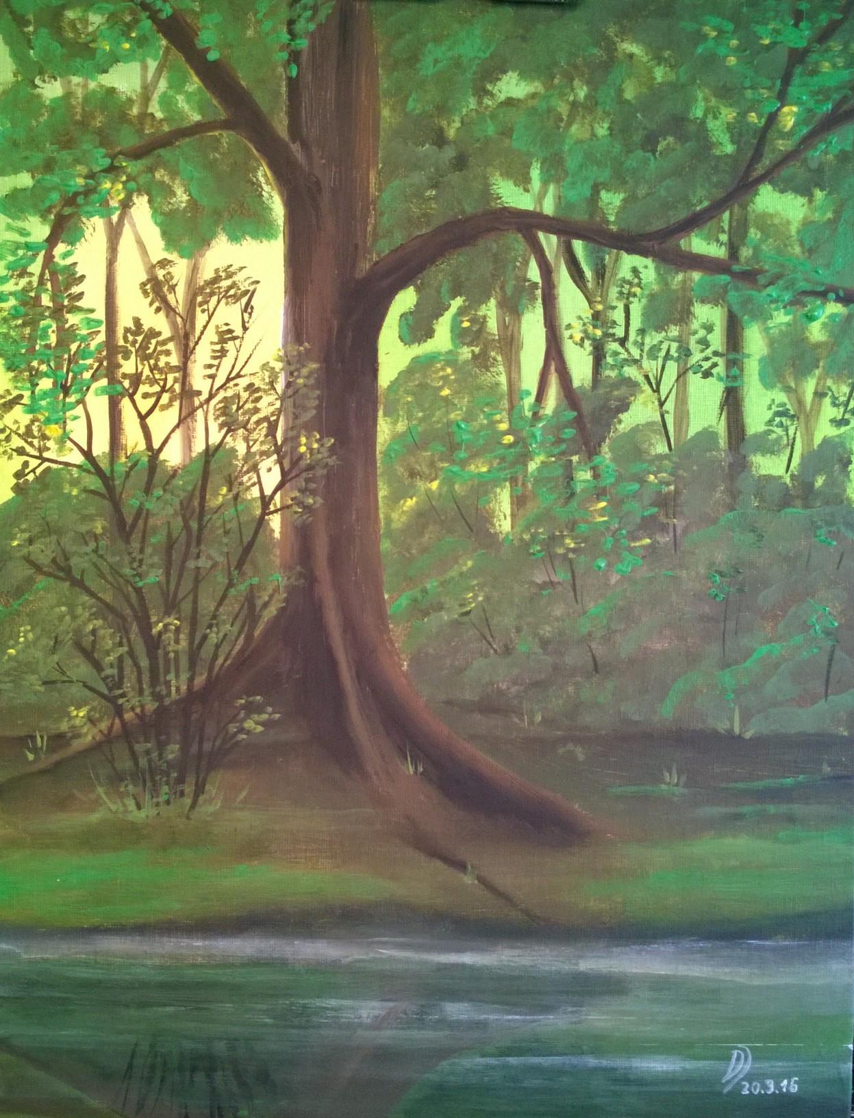 Malkurs Online Großer Baum In Morgensonne Am Waldtümpel