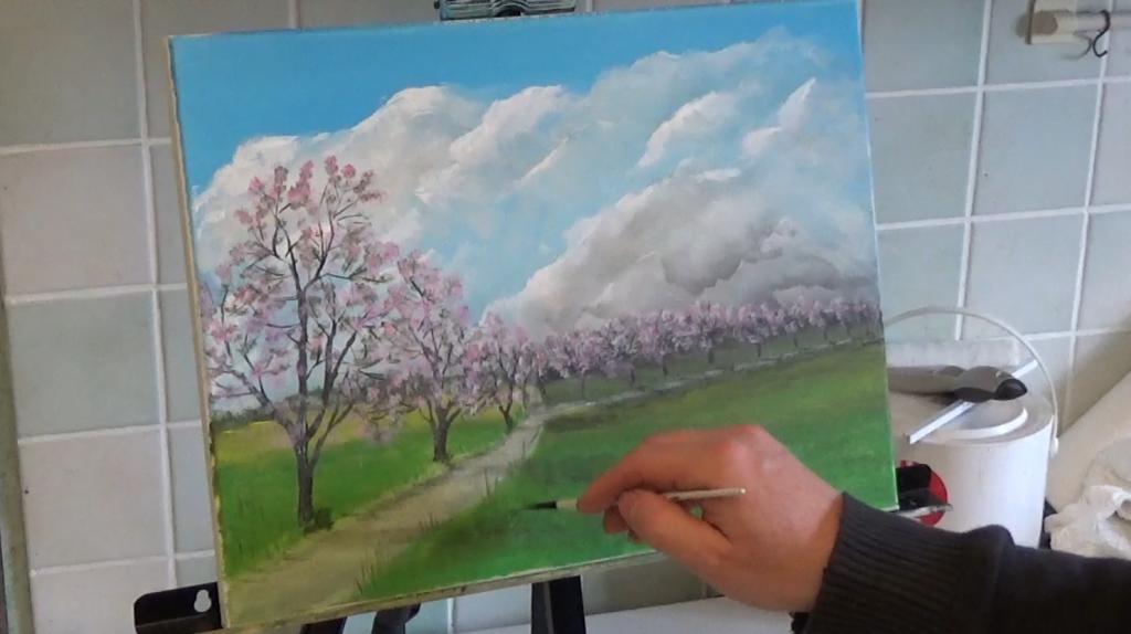 11-Fruehlingslandschaft-mit-bluehenden-Obstbaeumen