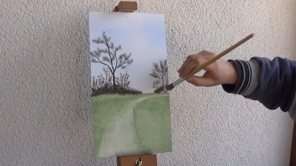 4-Fruehlingsbild-Weg-mit-Baum-und-Pferdekoppel