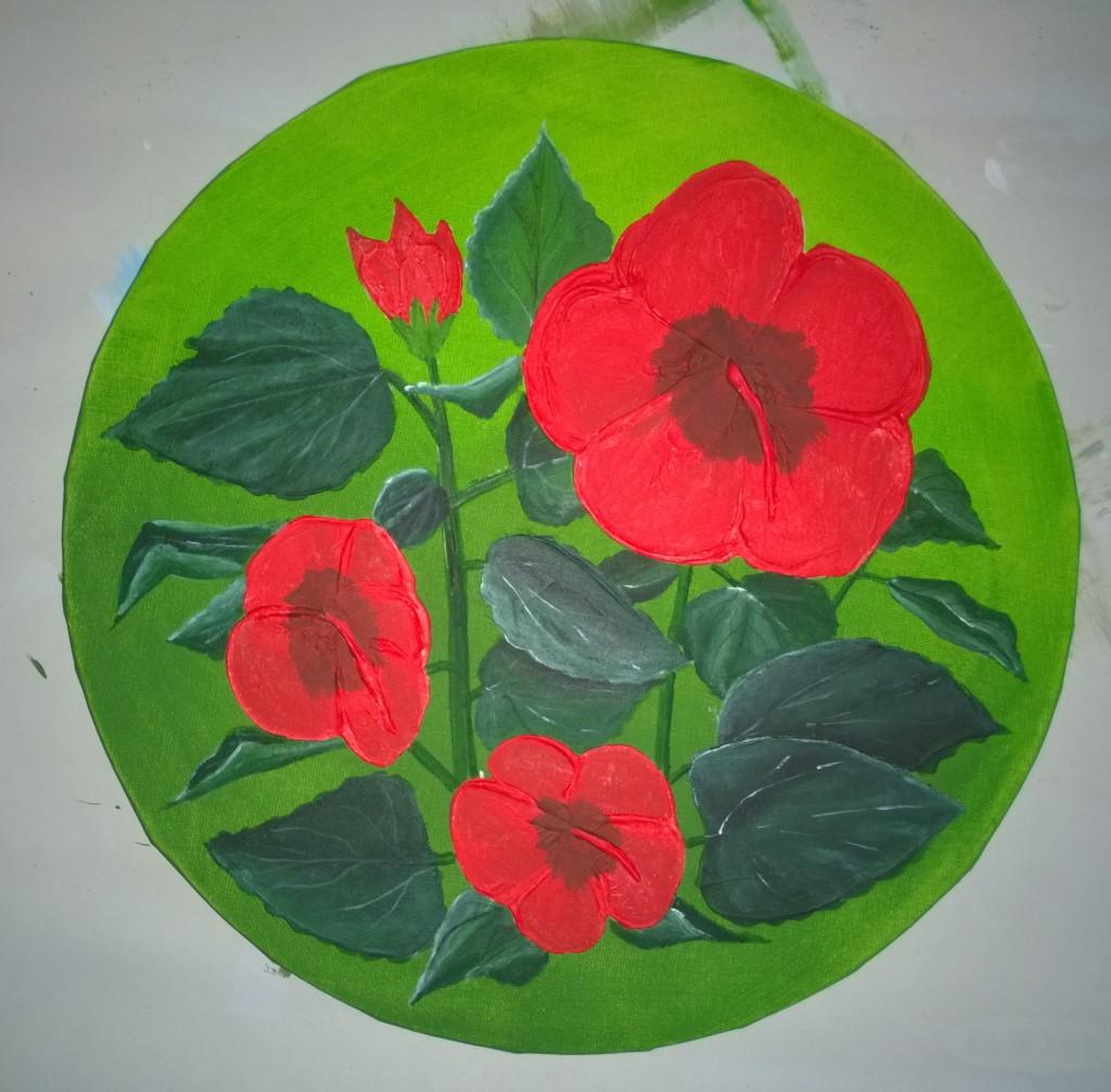 7-Malkurs-Blumenstillleben-Roter-Hibiskus