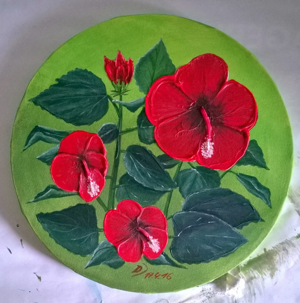 Malkurs-Blumenstillleben-Roter-Hibiskus