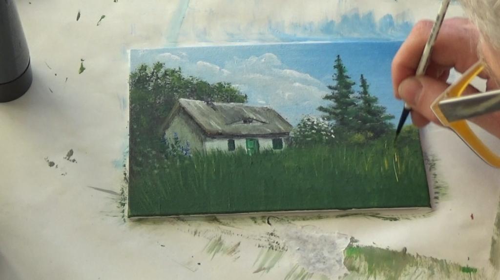 15-Malkurs-Acrylfarben-Reetgedecktes-Bauernhaus-an-Sommerwiese