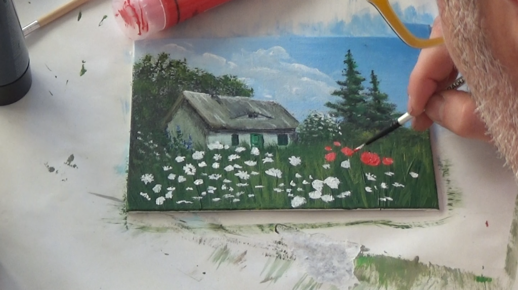 18-Malkurs-Acrylfarben-Reetgedecktes-Bauernhaus-an-Sommerwiese