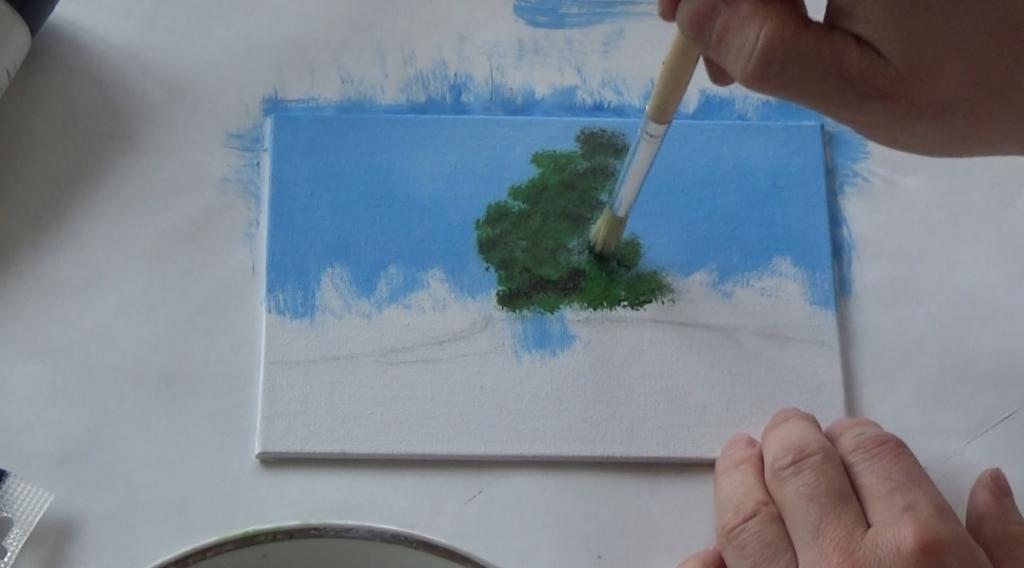 2-Malkurs-acrylfarben-ruhiger-Flusslauf-im-Wald