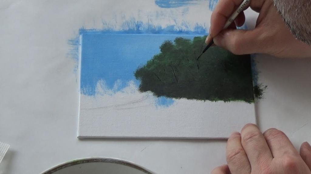 3-Malkurs-acrylfarben-ruhiger-Flusslauf-im-Wald