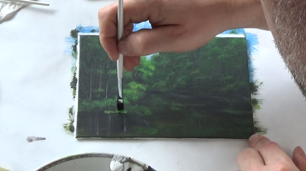 9-Malkurs-acrylfarben-ruhiger-Flusslauf-im-Wald