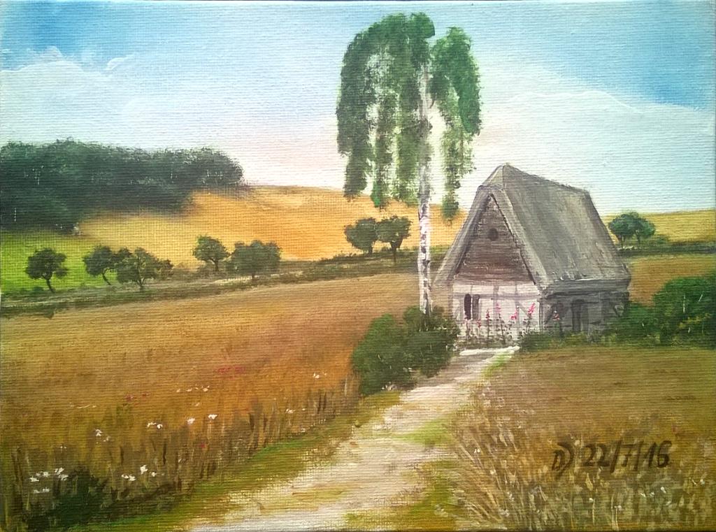 Malkurs-online-Kleines-Bauernhaus-im-Getreidefeld