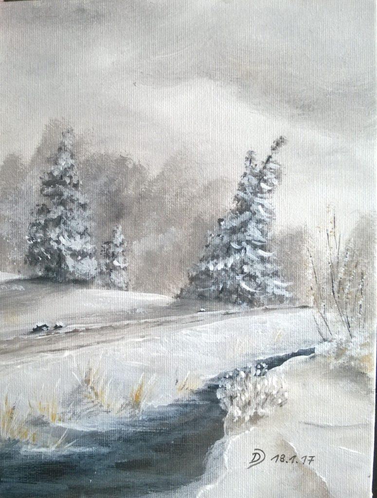 Winterbild im Onlinemalkurs für Acrylfarben malen