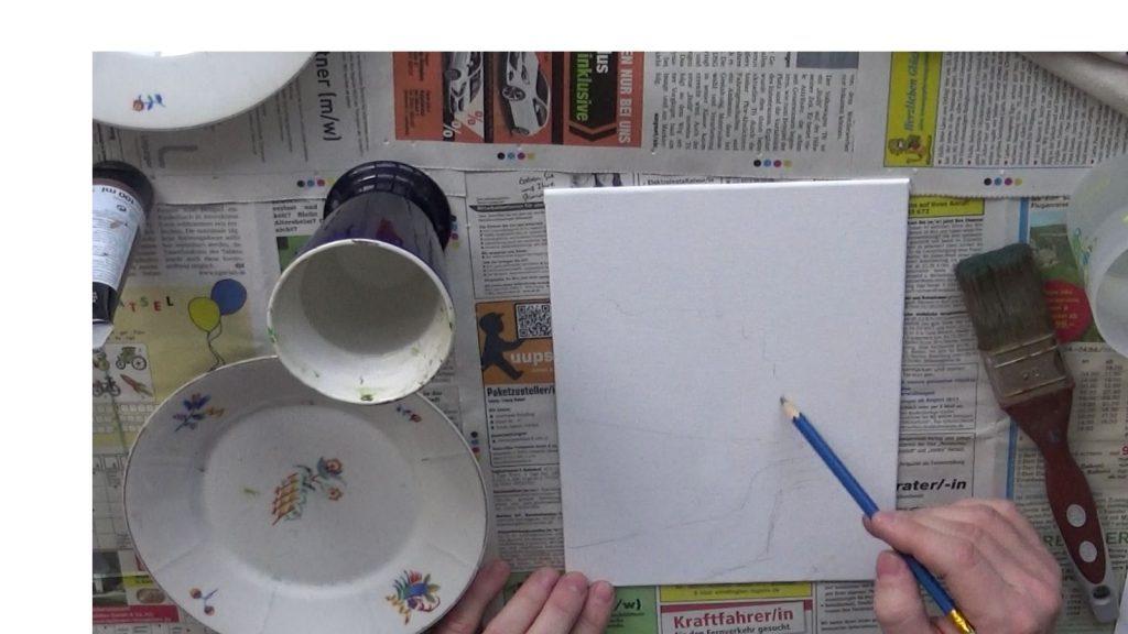 Erster Schritt der Acryklmalerei sollte eine Grobskizze des Motivs mit Bleistift sein.