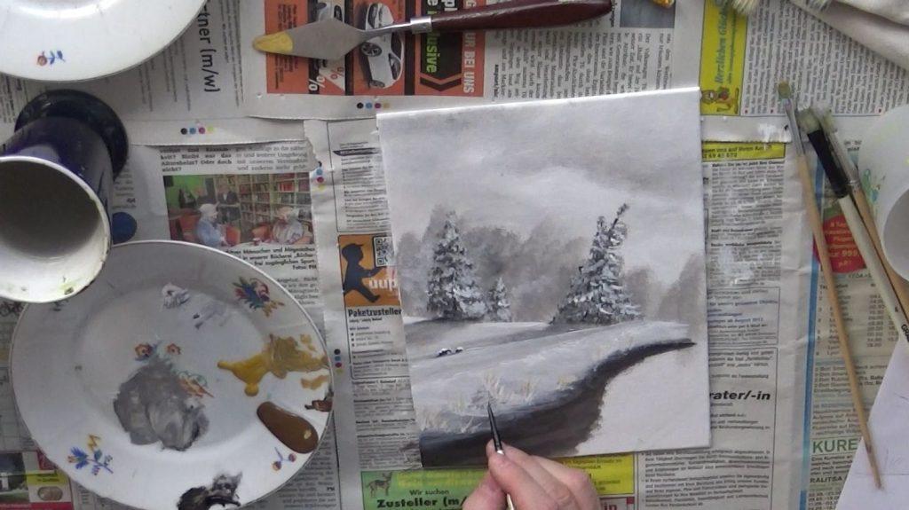 Im Uferbereich malt Ihr nun weitere Details hinzu.