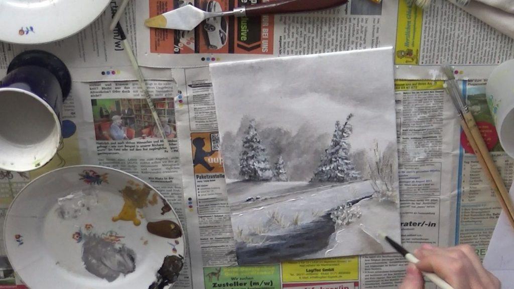 Schneeverwehungen malt Ihr am besten durch scharfe Weißkanten zu Schattenbereichen.