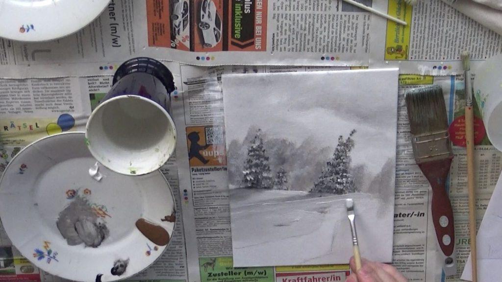 Der Weg in der Bildmitte wird nun als nächstes gemalt.