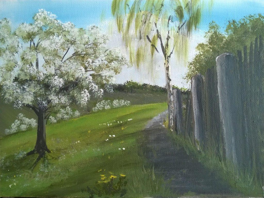Malkurs Für Acrylfarben Blühender Baum Am Weg Malen Macht